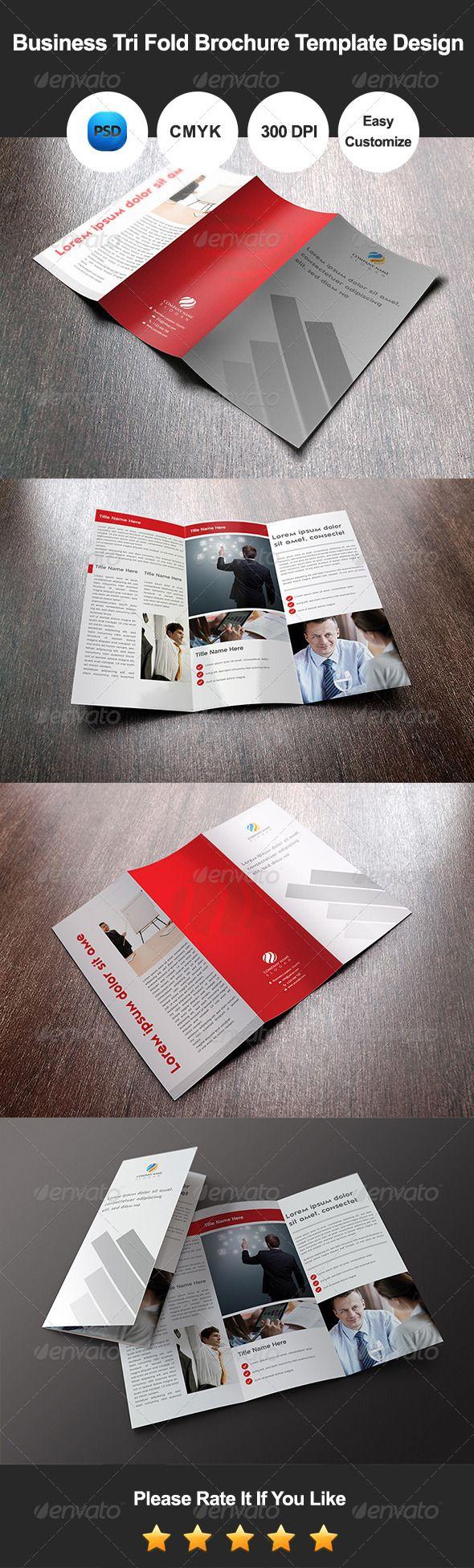 Business Tri Fold Brochure Template Design  —  PSD Template