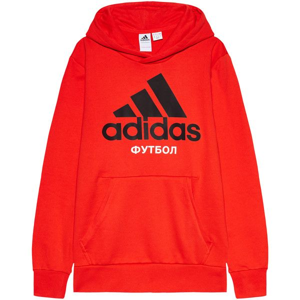 Gosha Rubchinskiy x adidas Hoodie ($167) ❤ liked on Polyvore featuring tops, hoodies, hoodie top, sweatshirt hoodies, red hooded sweatshirt, red top and red hoodies
