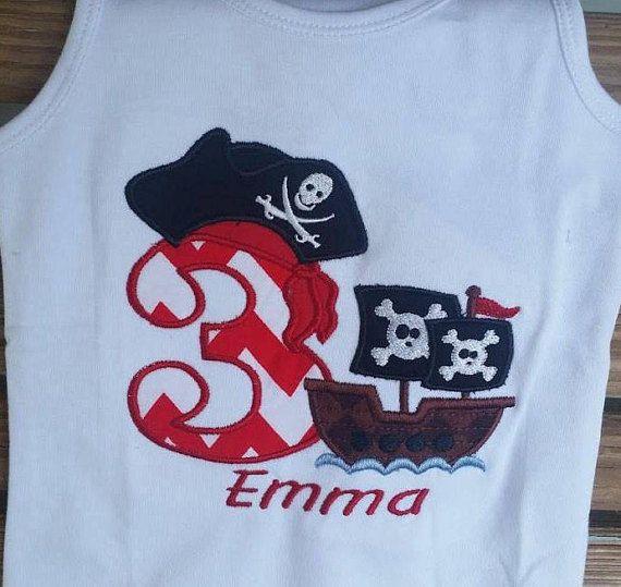 Check out Girls Pirate Birthday Shirt - Pirate Birthday - Numbers 1-9 - Pirate Shirt - Girls Birthday Shirt - Pirate Party - Girls Pirate Shirt on sweetbabycakesbows