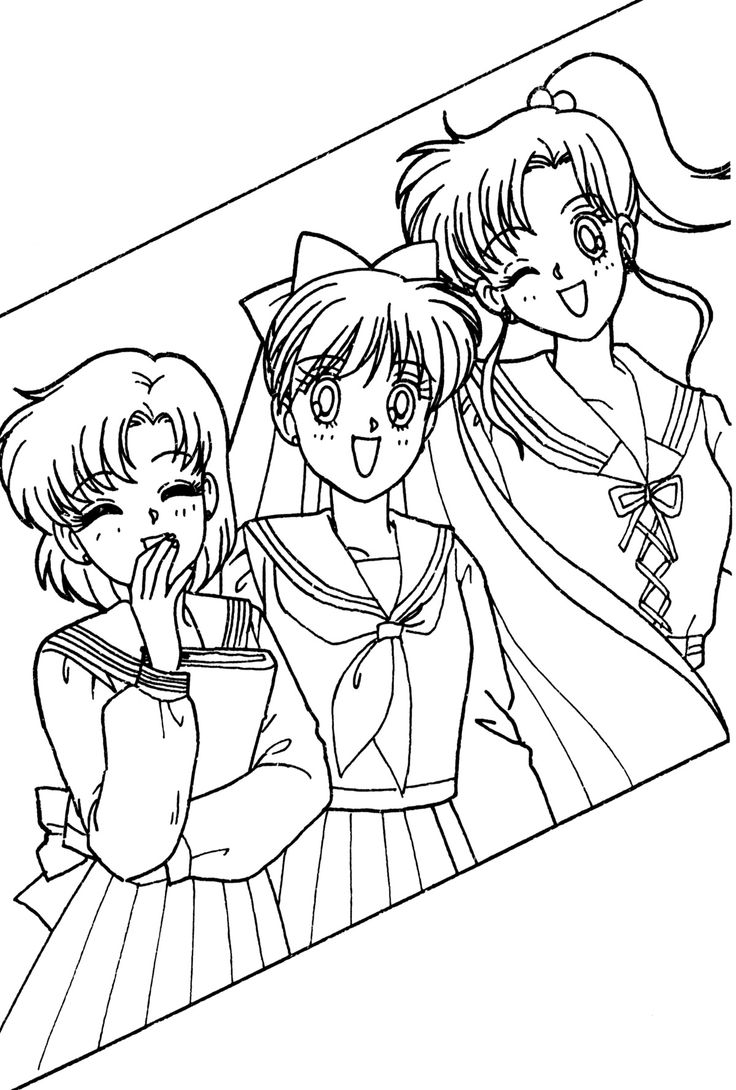 236 best images about line art coloring pages on pinterest for Sailor moon group coloring pages