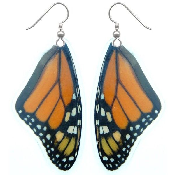 Real Butterfly Wing Earrings Monarch Butterfly Earrings (Laminated) ($2,500) ❤ liked on Polyvore featuring jewelry, earrings, earring jewelry, butterfly jewelry, butterfly earrings, wing jewelry and butterfly wing jewelry