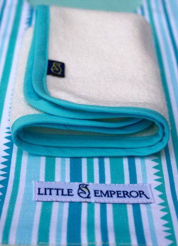 For the boys! 'Stripes' aqua bib and matching facecloth – by Little Emperor. #handmade #newborngift #bamboo #aqua #babyshower #Australia #kids #baby #handmade #buylocal #buyAustralian