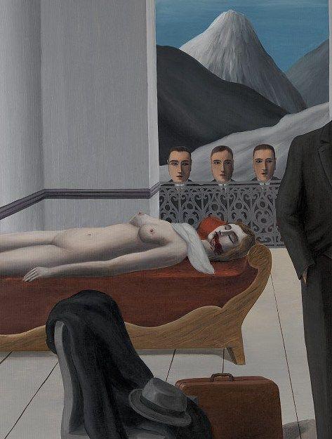 René Magritte - The Menaced Assassin(details), 1927
