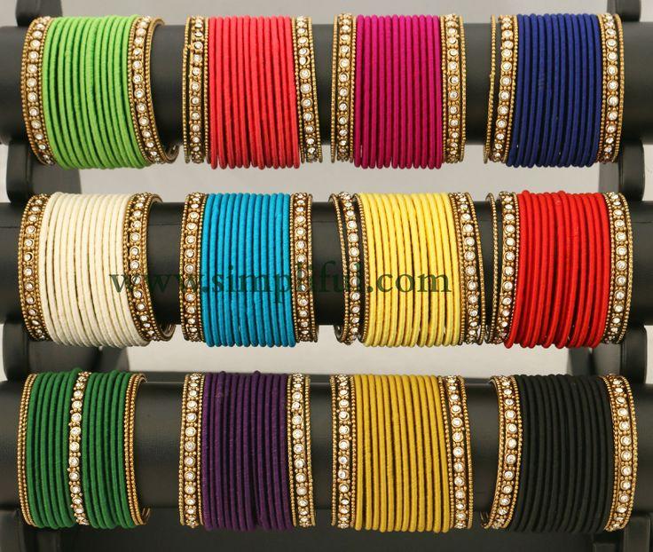 Silk Thread dozen bangle with metal bangle - Size 2x4