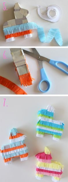Adorable diy mini piñatas that can be used as decor or reserved spot holders