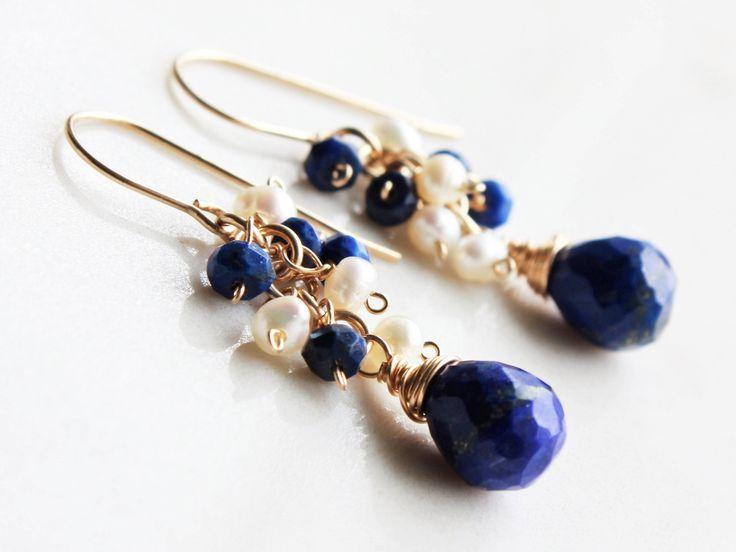 Lapis Earrings, Pearl Earrings, Goldfill wire wrap, royal blue gemstone, white freshwater pearls, cluster earrings, June December birthstone by AliraTreasures on Etsy