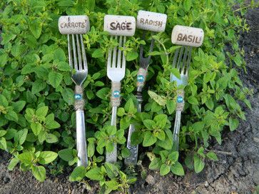 Vintage Sterling Silver & Silver-Plated Fork Plant Markers by Varleys Vintage   you can make your own using wine corks