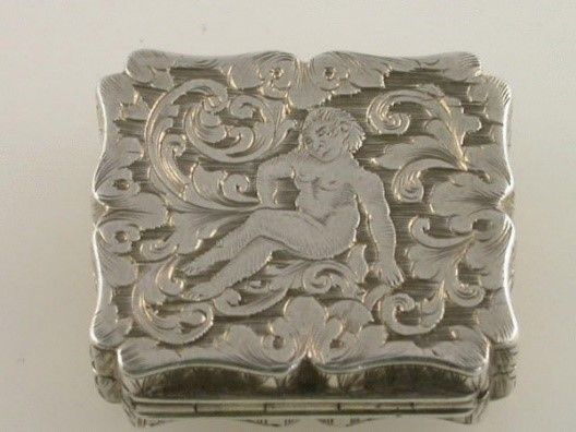 Silver foliate scroll and reclining cherub vinaigrette, by Joseph Willmore of Birmingham (1842) – click to read a biography of Joseph Willmore: http://www.steppeshillfarmantiques.com/blog/a-biography-of-birmingham-silversmith-joseph-willmore-2504