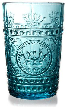 Louis Tumbler - Turquoise - transitional - Cups And Glassware - Bliss Home & Design