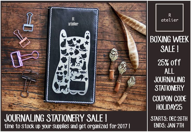R.atelier Boxing Week Journaling Stationery Sale! 25% Off Stationery Items From Dec 26, 2016 to Jan 7, 2017