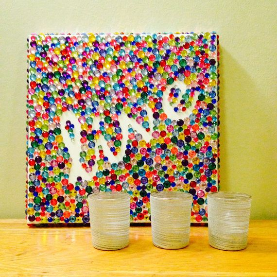 This jeweled canvas is super cute and fun for any room! Jeweled Canvas by Glued4U on Etsy, $25.00 #canvas #craft #etsy