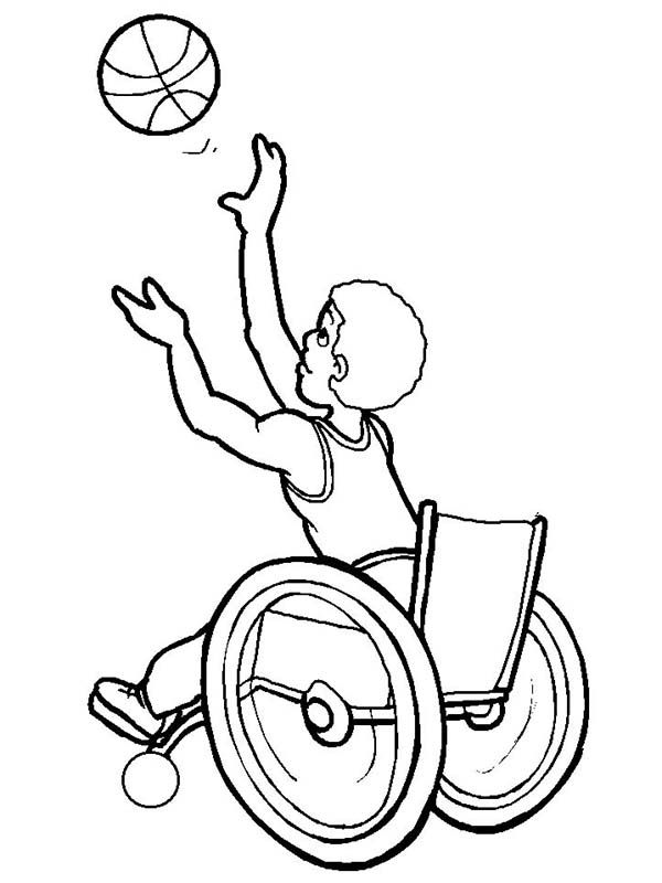 Disability Disability Boy Playing Basketball Coloring Page Sports Coloring Pages Coloring Pages Online Coloring Pages