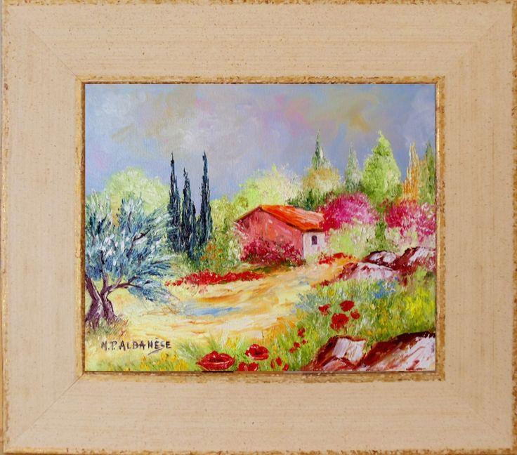Tableau peinture provence tableaux coquelicots olivier for Tableau de coquelicot en peinture