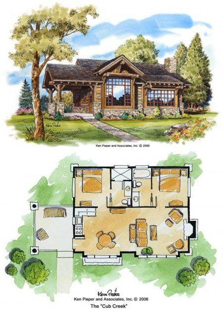 Now this is a great floorplan for a 2 bed 2bath cabin. Also Has link to great cabin plans - one bathroom and walk in closet