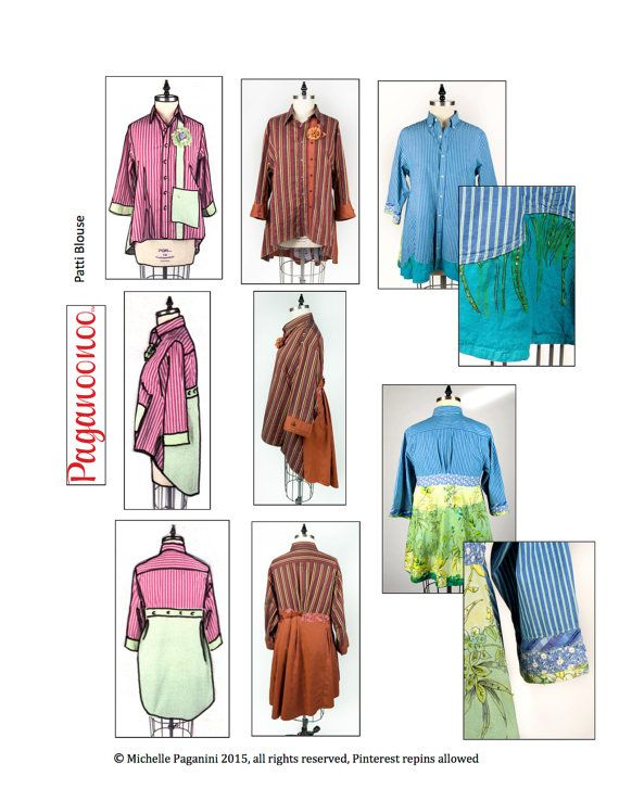 PDF: Patti Blouse Pattern and Judy Flower. Upcycle by Paganoonoo