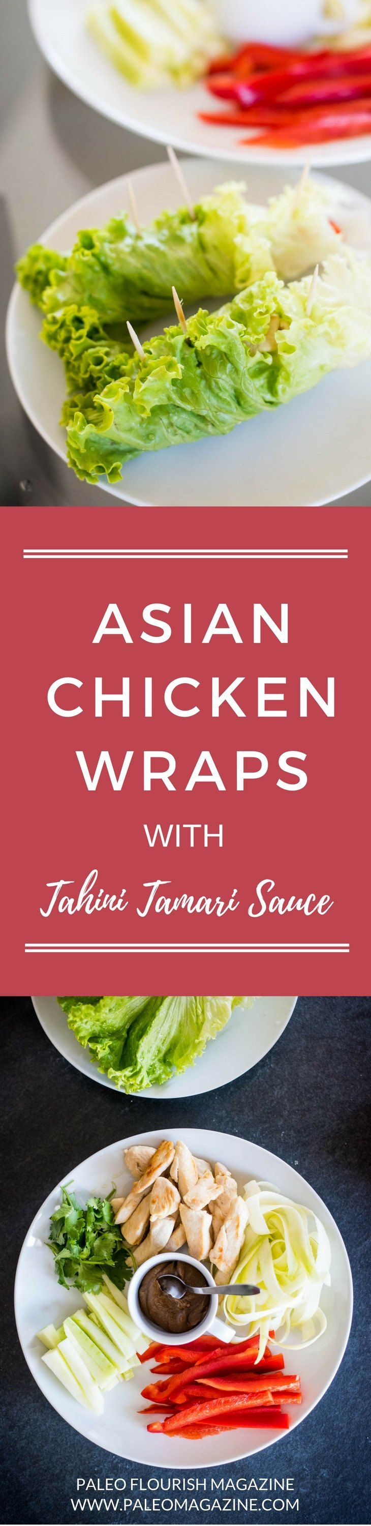 Asian Chicken Wraps with Tahini Tamari Sauce [Paleo, Keto] #paleo #recipes #glutenfree http://paleomagazine.com/asian-chicken-wraps-recipe
