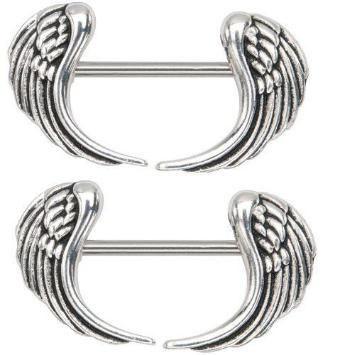 "Body Accentz® Nipple Ring Angel Wings bar body Jewelry sold as Pair 14g 1/2"" Body Accentz Nipple Rings. $4.99"