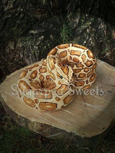 Snake Cake.  Made with bundt pans. 1 large pan and 2 w/smaller pan.  3 cakes.  Shape head from rice krispies.  Use a net bag, (ex: from oranges) for scales on fondant.
