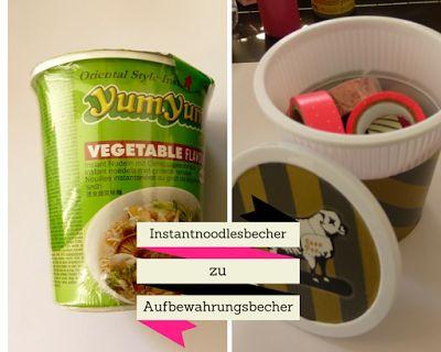My.Life.Ink: Recycling DIY - Instantnoodlesbecher mit Washi Tape style