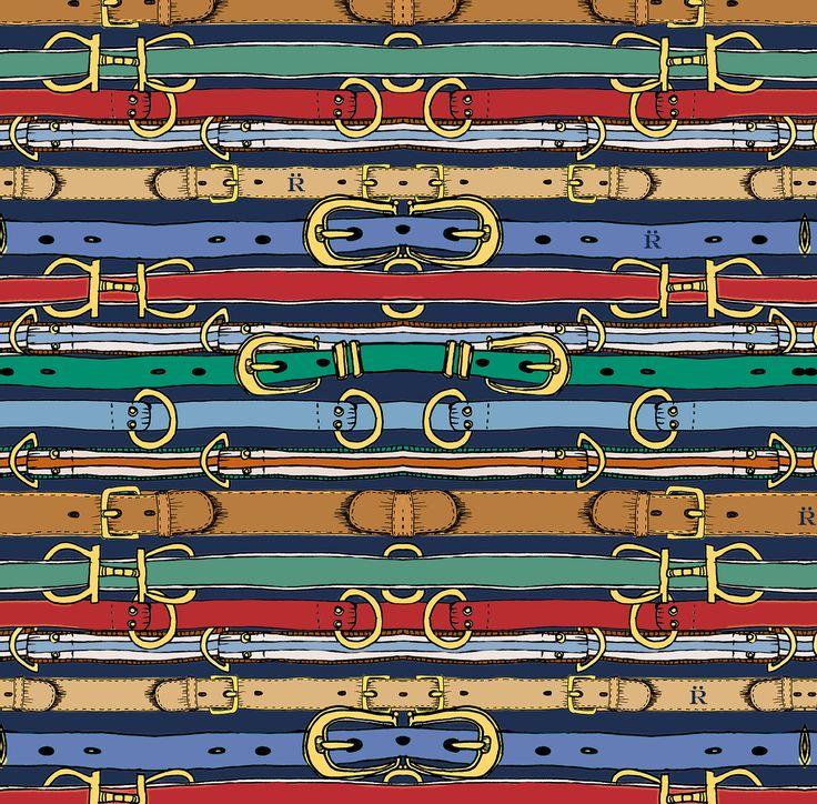 navy belts print