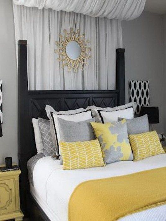 Grey And Yellow Decor Ideas Grey Yellow Bedroom Decorating Ideas Saltandblues In 2020 Grey Bedroom Design Yellow Bedroom Decor Yellow Bedroom