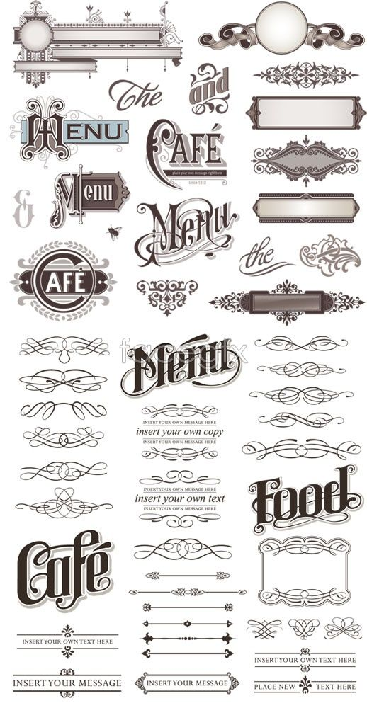 "The middle ""menu"" under ""cafe"" - I like the flourishes on the M here, with the swirls through the letters."