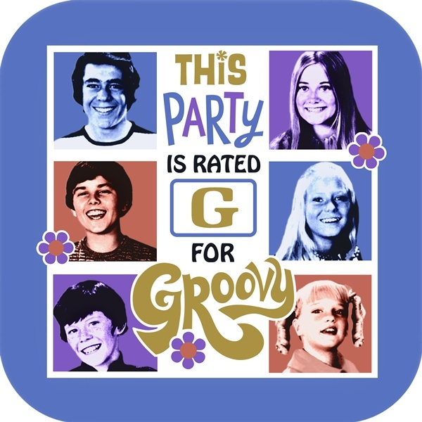 Should anyone want to throw me a party :) ha ha ha    The Brady Bunch Dinner Plates come 8 in a package.  Features Groovy quote.