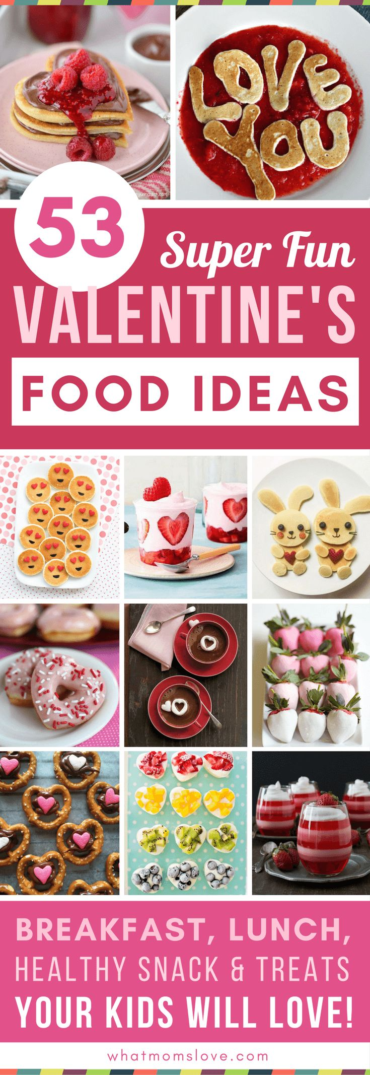 Valentines Day Food Ideas for Kids | Fun recipes to make for families including Valentine breakfast, lunch, healthy snacks, sweet treats and desserts. Lots of cute ideas for children to bring into their school classrooms to share with friends too!