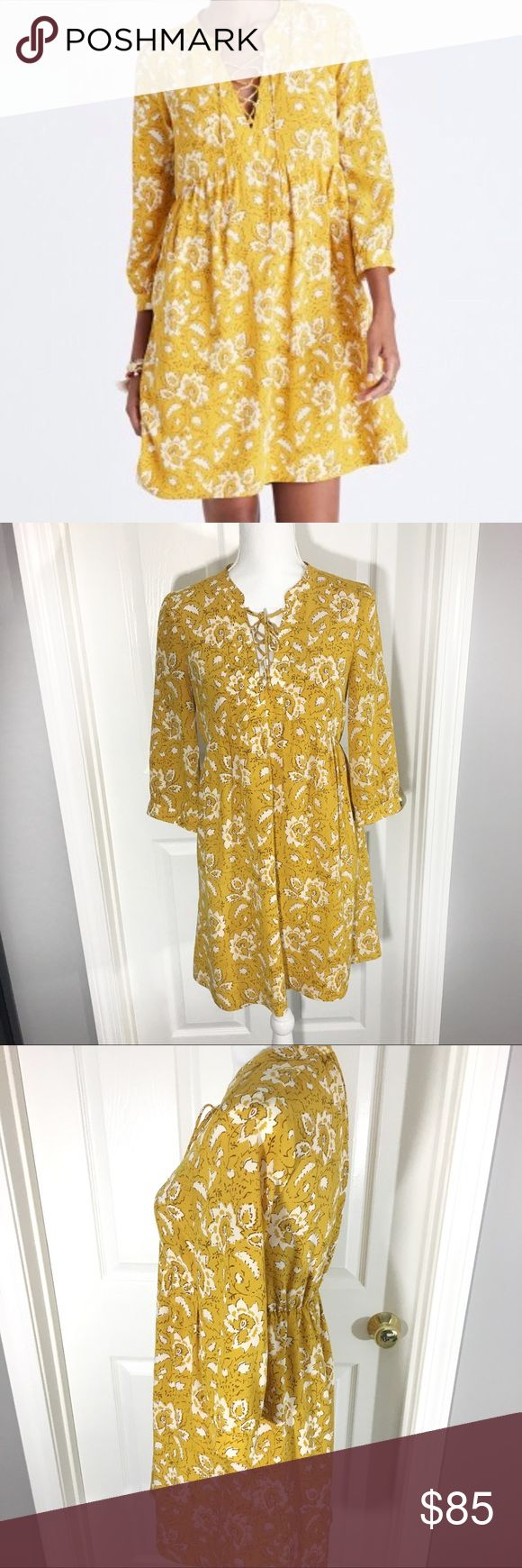 Madewell Silk Assam Yellow Floral Dress EUC - only flaw is a missing sleeve button 100% Silk Dry clean only Lace up front Madewell Dresses