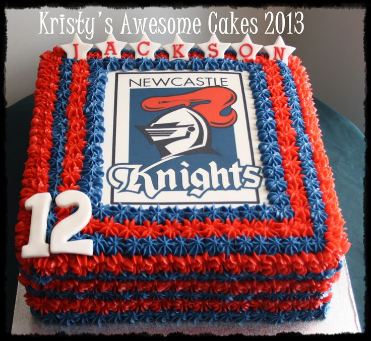 Newcastle Knight NRL cake edible image buttercream Kristy's Awesome Cakes. Love the two color border. Muswellbrook, Australia