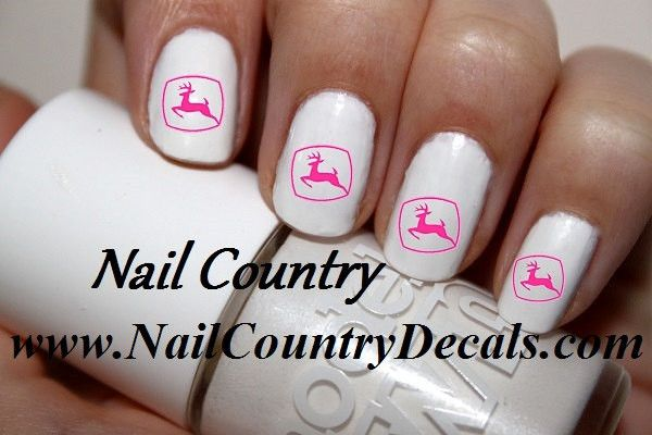 50pc Country Pink John Deere Logo Nail Decals Nail Art Nail Stickers Best Price  NC176