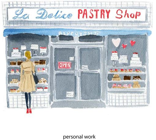 i used to walk by this place everyday it is on 28th and 3rdShops Windows, Watercolors, Caitlinmcgauley, Art, Caitlin Mcgauley, Fashion Illustration, Windows Shops, Pastries Shops, Water Colors