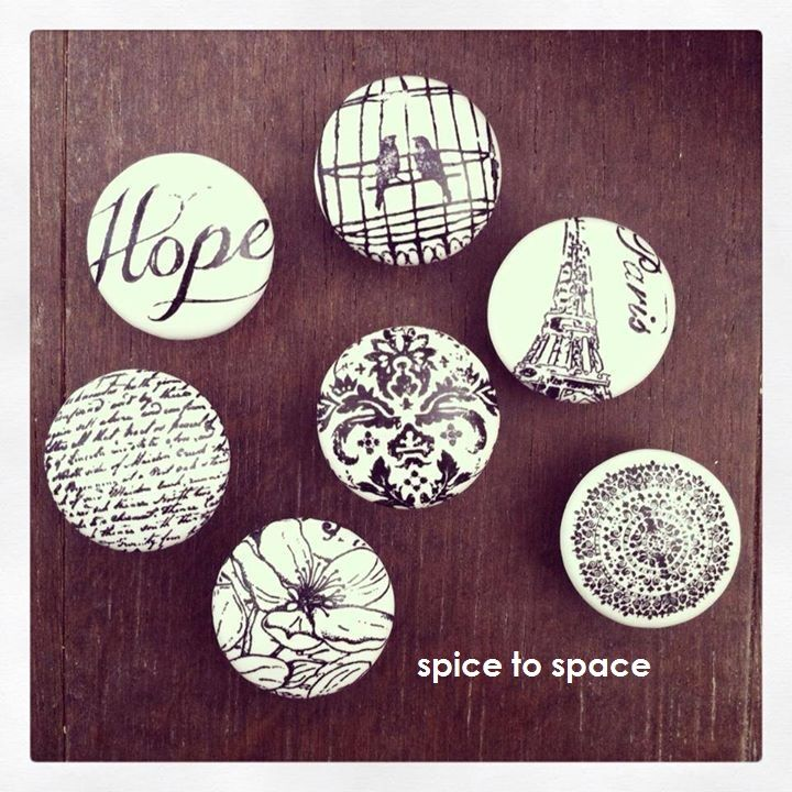 Handmade Furniture Handles / Knobs made by Spice to Space  Hope, Love Birds, Paris, Coin, Damask, Floral and Script designs shown here www.spicetospace.com
