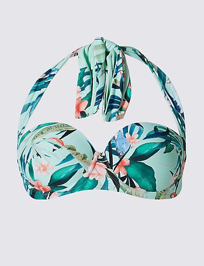 Printed Multiway Bikini Top B-E   M&S