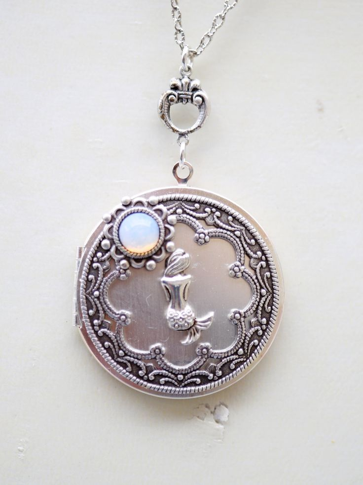 Mermaid Moonstone Locket NecklaceSilver by emmalocketshop on Etsy