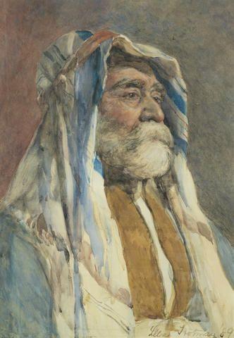 A portrait of a man in Arabian costume by Lillie Trotman