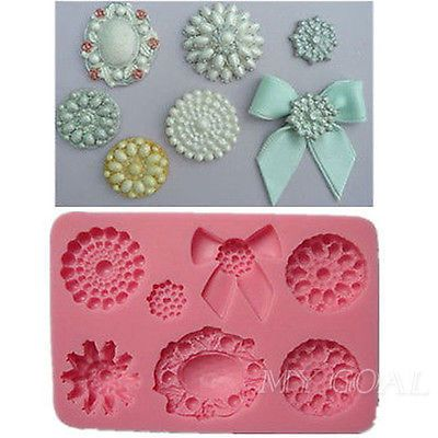 Brooch Jewelry Bowknot Cupcake Silicone Cake Fondant Mold Chocolate Pastry Mould | eBay