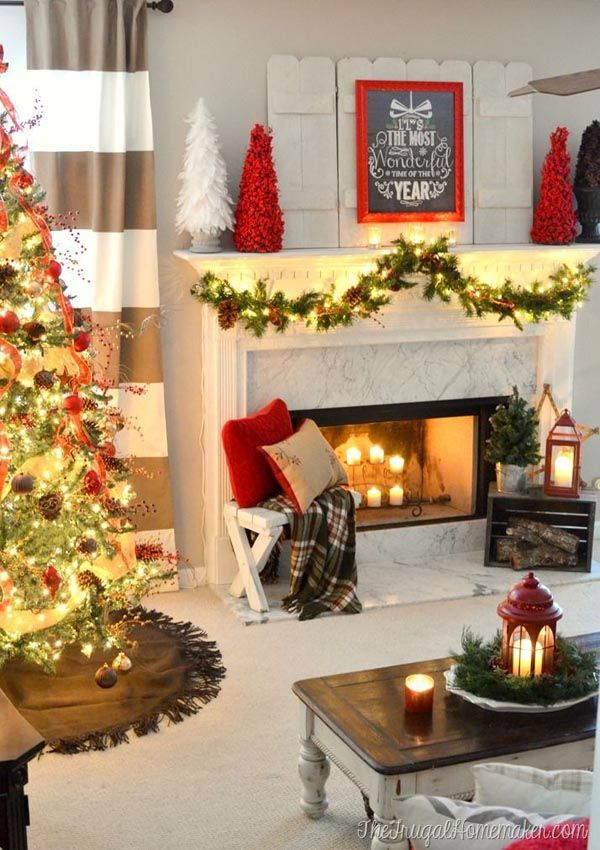 Living Room Christmas Decorating Ideas 118 best christmas garland & mantel ideas images on pinterest