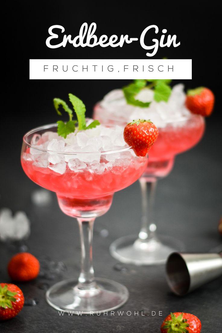 Rezept für einen Gin-Cocktail mit Erdbeermarmelade und Minzsirup