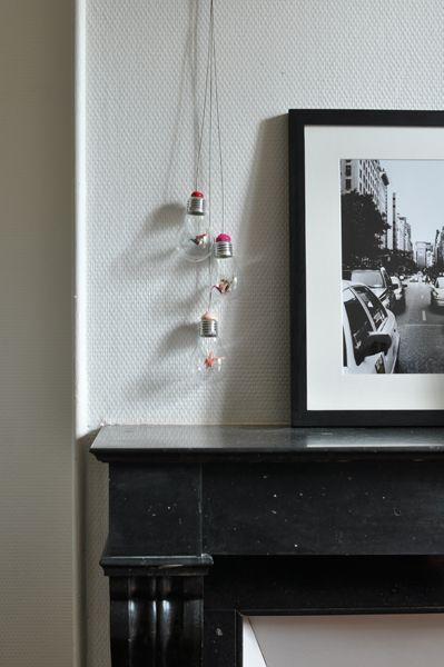 Suspension ampoules & origami / Origami lamp bulbs suspension #howto #tuto