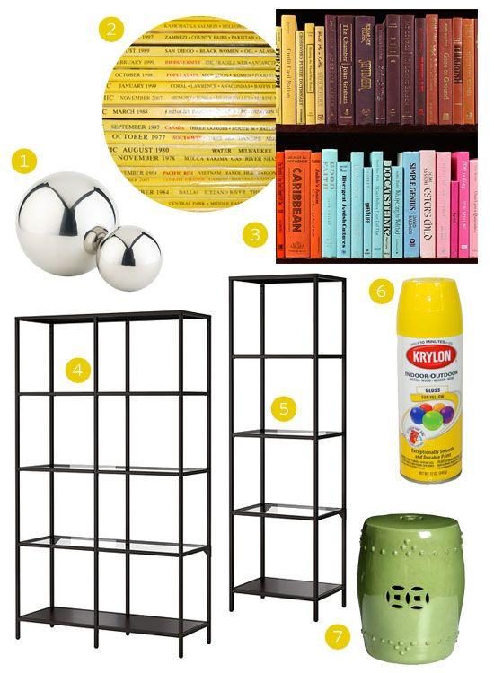 BOOKSHELVES BEFORE: inexpensive IKEA shelves....begging for a makeover