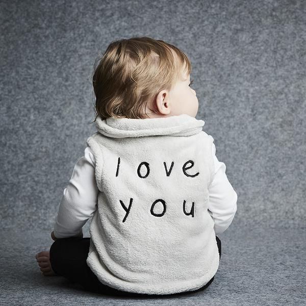 """Amazingly soft and oh so comfy Sookibaby grey velour vest.  Featuring winking 'eye' on the front and the words 'Love You' on the back in black embroidered stitching.  Fabulously handy wardrobe basic that will be so handy on those """"Chilly Days"""".  Mix and Match with Sookibaby's Chilli Days winter range."""