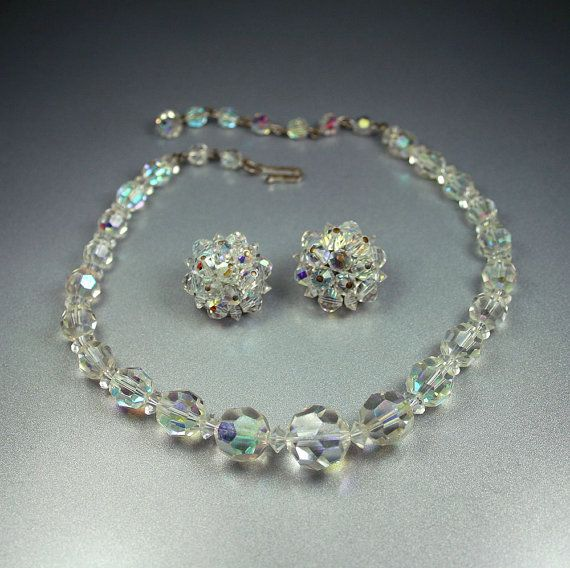 Vintage Laguna Crystal Necklace Earrings Set By