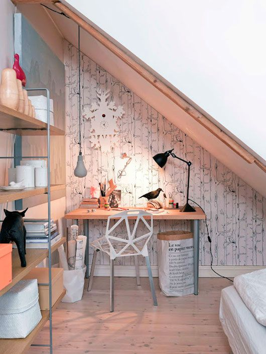 Slanted ceilings AND a tiny space, bedroom nightmare, but...this may be the best answer yet!  Maximize the space under it, and the texture wall light shelving...pretty cool looking!
