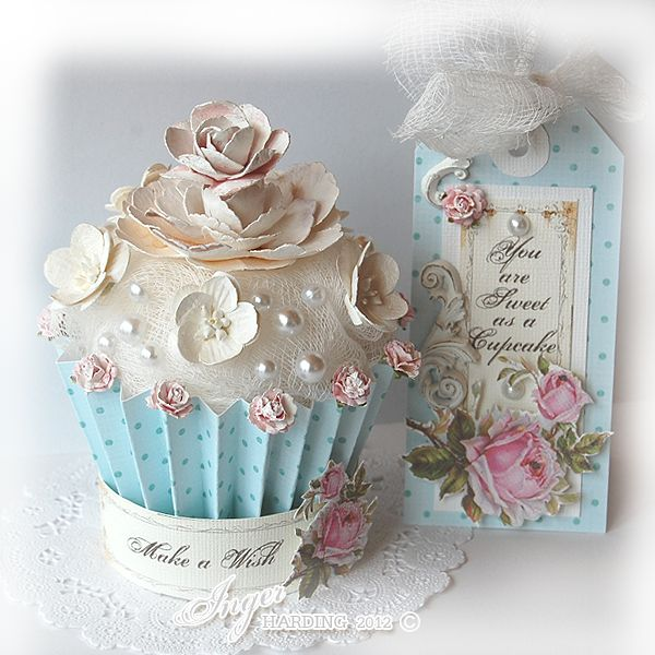 3D Cupcake & Tag:  I'm so curious to know if that is cheesecloth or ribbon on there.  It doesn't say but it looks so much like cheesecloth.  You know I'm so going to have to dig out some cheesecloth and craft with it.  Maybe it is the new burlap:)