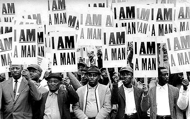 The Memphis Sanitation Strike, 1968.  http://jrcreativeink.wordpress.com/2011/08/30/photos-i-am-a-man-memphis-sanitation-strike-of-1968/