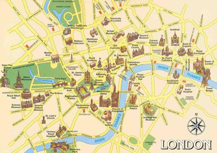 """Carte de Londres. Consultez la carte touristique du guide de voyage """"Promenade dans les quartiers de Londres"""" avec toutes les adresses recommandées : visites, hôtels, restos, musées, hotels et sorties à Londres"""