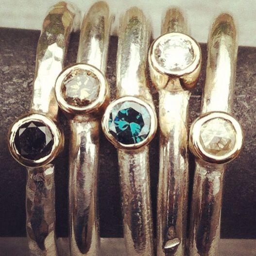Silver & gold diamond rings #ring #diamond #gold #silver