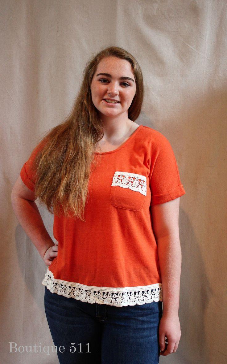 Muted Orange T-Shirt With Cream Embroidery