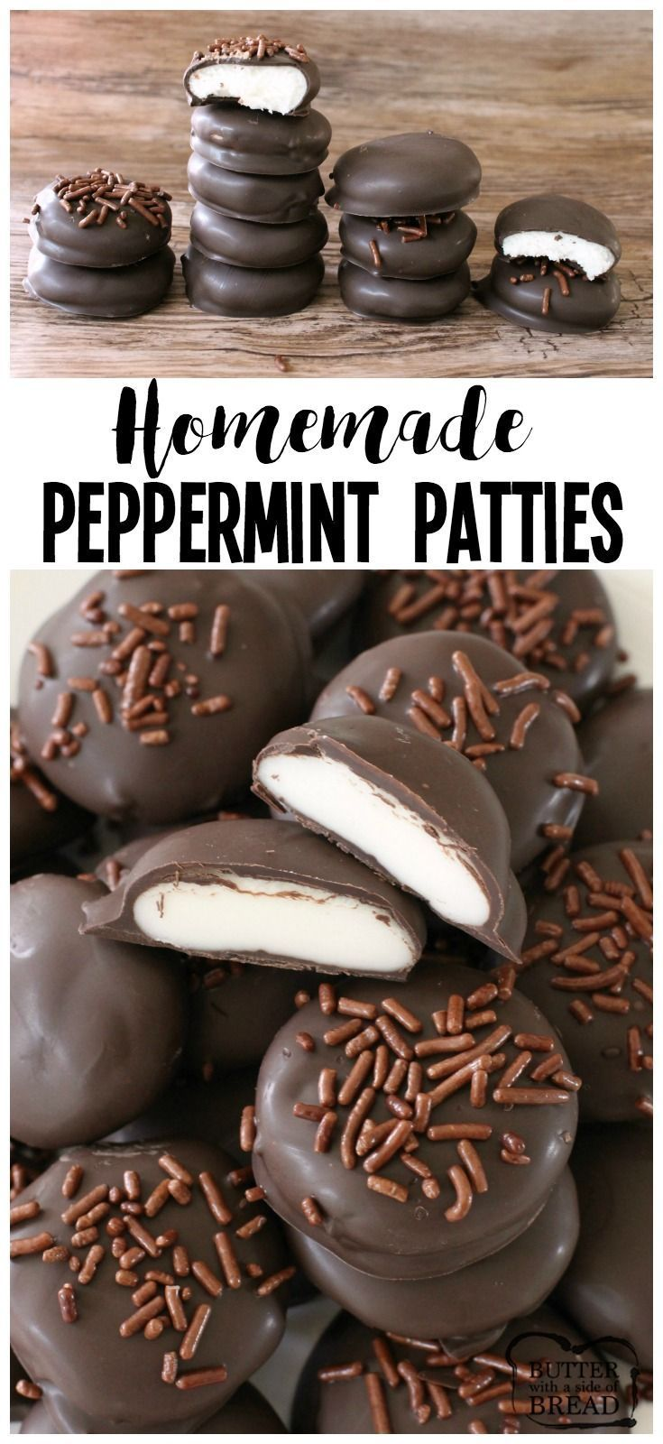 Homemade Peppermint Patties - Just 5 ingredients and they taste SO much better than store-bought! Perfect for holiday goodie plates! Butter With A Side of Bread